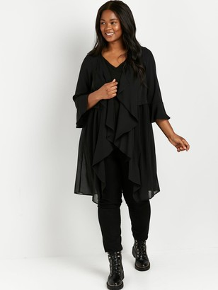 Evans Longline Waterfall Jacket - Black