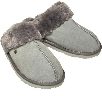 Dunlop Womens Malia Suede Memory Foam Slippers Grey
