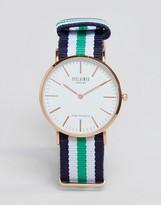 Reclaimed Vintage Canvas Multistripe Watch In Navy/green