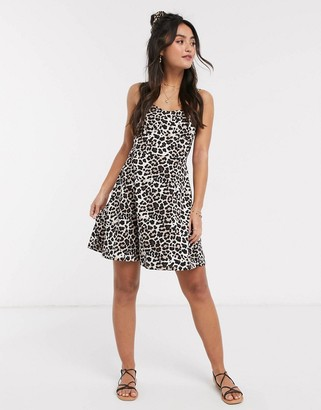 ASOS DESIGN mini sundress with cupped seams in animal print