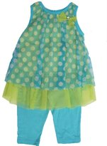 Buster Brown Little Girls Blue Yellow Dotted Bow 2 Pc Capri Set