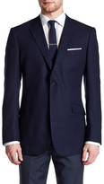 Zanetti Catania Blue Woven Two Button Notch Lapel Wool Trim Fit Blazer