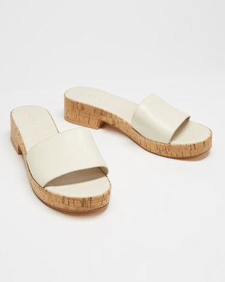 AERE - Women's White Heeled Sandals - Leather Single Strap Cork Mules - Size 6 at The Iconic