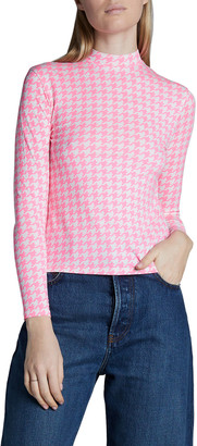 Balenciaga Printed Houndstooth Long-Sleeve Stretch Jersey Top