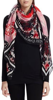 Alexander McQueen Pareo Tattoo Butterfly Silk-Blend Scarf
