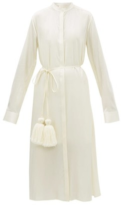 Jil Sander Belted Satin Pyjama Shirtdress - Womens - Cream