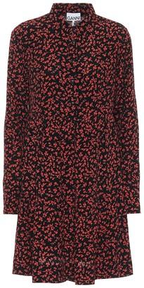 Ganni Floral crepe shirt dress