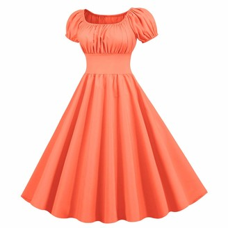 KPILP Womens Swing Mini Dress Slim fit Hepburn Vintage Fashion Evening Party Cocktail Flowy Dresses Solid Color Short Sleeve A-line Casual 1950s Retro Summer Dress(Red S)
