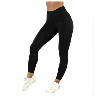 Ttlove Women TTlove Yoga Pants with Pockets Ultra Soft and Comfy Yoga Leggings with Pockets Women's Tummy Control Workout & Running Trousers(C#Black L)