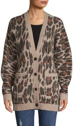 Rails Leopard-Print Button-Front Cardigan