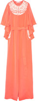 Oscar de la Renta Embroidered Cape-effect Silk-crepe Gown - Coral