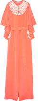 Oscar de la Renta Embroidered Cape-effect Silk-crepe Gown - Coral
