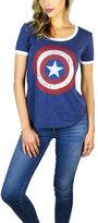 Disney Marvel Womens Captain America Burnout Ringer Tee