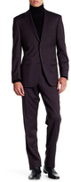 Ike Behar Red Checkered Two Button Notch Lapel Wool Suit