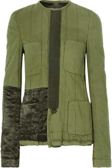 Haider Ackermann Velvet-trimmed Quilted Cotton Jacket - Army green