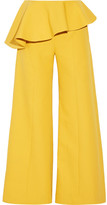 Rosie Assoulin Bearded Iris Peplum Cotton-twill Wide-leg Pants - Marigold
