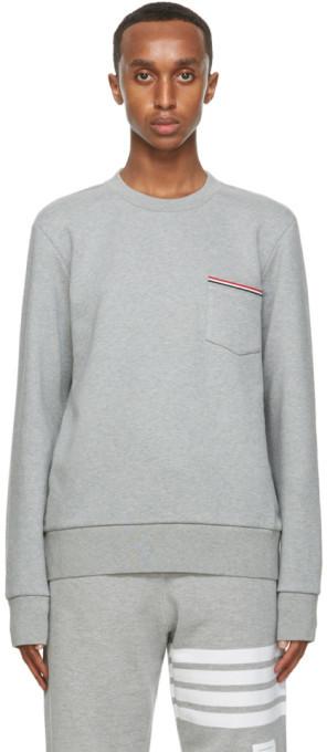 Thom Browne Grey Stripe Pocket Classic Sweatshirt