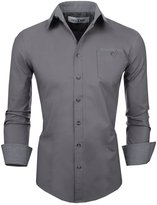 Tom's Ware Mens Classic Slim Fit Checkered Contrast Inner Lining Long Sleeve ShirtS TWS8219-US XXL