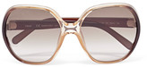 Chloé Misha Oversized Square-frame Acetate Sunglasses - Brown
