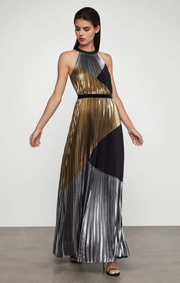 BCBGMAXAZRIA Metallic Sunburst Pleat Gown