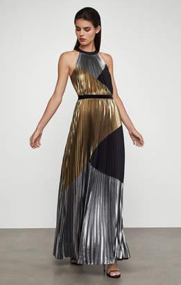 BCBGMAXAZRIA Metallic Sunburst Pleat Gown