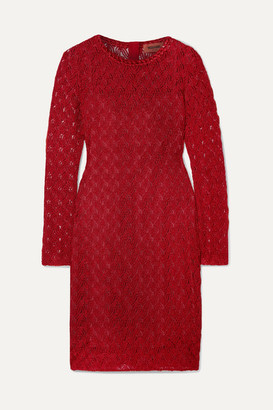 Missoni Metallic Crochet-knit Mini Dress - Red
