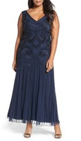 Pisarro Nights Plus Size Women's Embellished Double V-Neck Gown