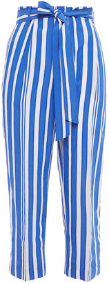Chinti and Parker Cropped Gathered Striped Crinkled-jacquard Straight-leg Pants