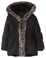 Catimini Black Padded Coat with Faux Fur Trim