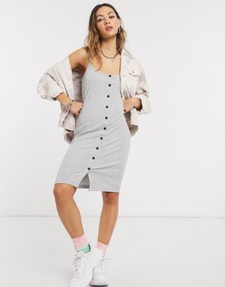 Noisy May button through rib cami midi dress in grey