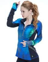 icyZone Women's Workout Yoga Track Jacket 1/2 Zip Long Sleeve Running Shirt (L, )