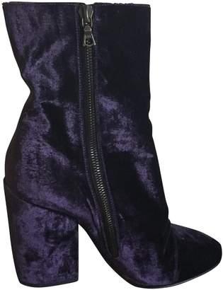 Dries Van Noten Purple Suede Ankle boots