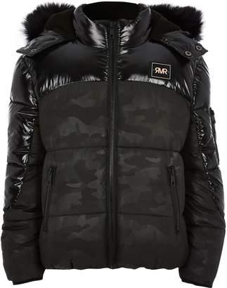 River Island Kids Black camo high shine puffer jacket