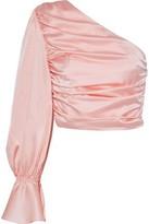 retrofete Rylie Cropped One-shoulder Silk-blend Satin Top