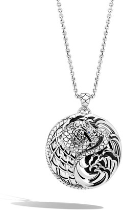 John Hardy Legends Naga Silver Round Long Pendant Necklace