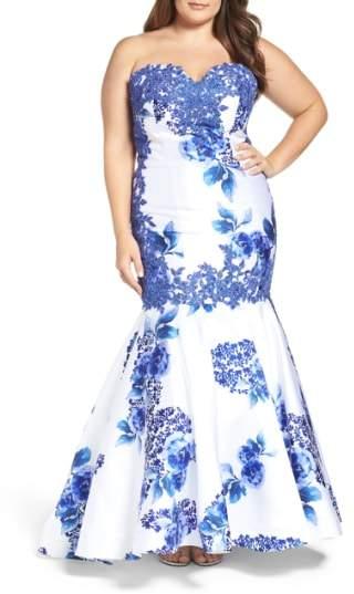 Mac Duggal Embellished Strapless Zip Off Mermaid Gown