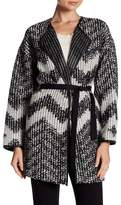 Basler Belted Faux Leather Trim Cardigan
