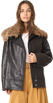 Zero Maria Cornejo Leather Jacket with Shearling Collar