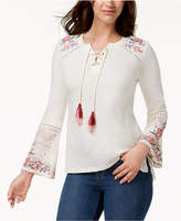 Style&Co. Style & Co Style & Co Petite Lace-Up Embroidered Top, Created for Macy's