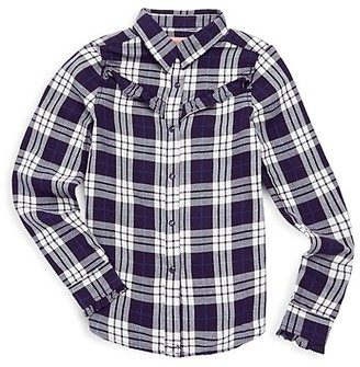 Blank NYC Girl's Plaid Cotton Shirt