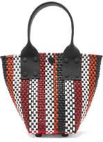 Truss - Le Sac Mini Striped Woven Raffia-effect Tote - Black
