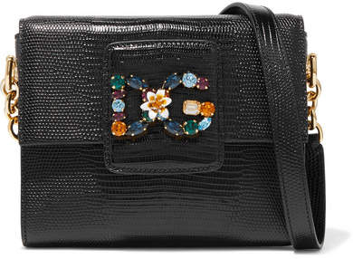 Dolce & Gabbana Milennials Embellished Lizard-effect Leather Shoulder Bag - Black