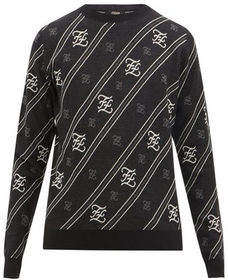 Fendi Ff-karligraphy Wool Sweater - Black