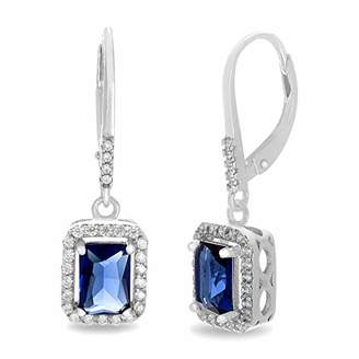 MIA SARINE Rhodium Plated Sterling Silver Simulated Sapphire Emerald Cut Dangle Drop and Cubic Zirconia Leverback Earrings for Women ( Rectangular)