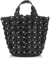 Jimmy Choo MAXINE Black Woven Vacchetta Bucket Bag