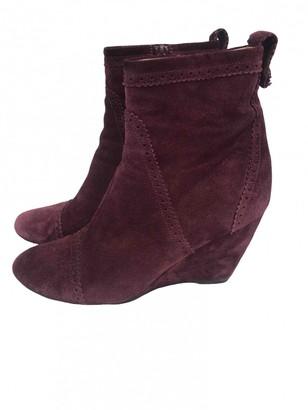 Balenciaga Burgundy Suede Ankle boots