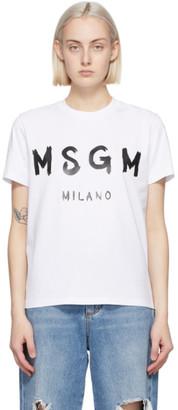 MSGM White Artist Logo T-Shirt