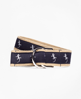 Brooks Brothers Embroidered Ribbon Belt