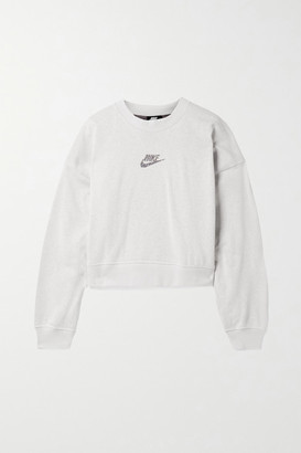 Nike Sportswear Oversized Cropped Printed Cotton-blend Jersey Sweatshirt - Light gray