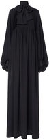 Stella Jean Balloon-Sleeve Pleated Crepe Gown